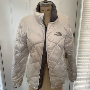 North Face Women's White Down Jacket Sz M